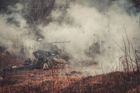 world war two: ST. PETERSBURG, RUSSIA - APR 26: Historical reenactment of the last combats of world war two in Europe on april 26, 2015 in St. Petersburg, Russia Editorial