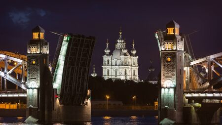 peter the great: Night view of the Peter the Great Bridge and Smolny Cathedral in St. Petersburg, Russia