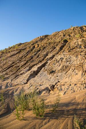 sand quarry: Sand quarry against blue sky