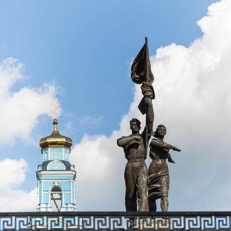 pioneers: YEKATERINBURG, RUSSIA - AUG 07: Statue of the Soviet pioneers on August 07, 2015 in Yekaterinburg, Russia.