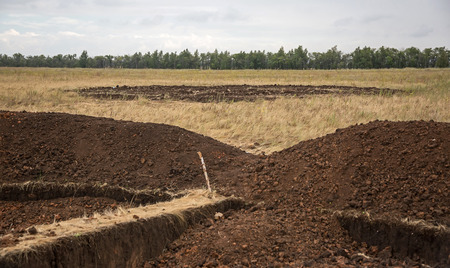 mounds: CHELYABINSK REGION, RUSSIA - AUG 09: Archaeological site of the Sarmatian burial mounds - on August 09, 2015 in Chelyabinsk region, Russia.