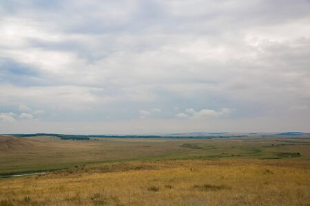 russia steppe: Landscape of Historical and Cultural Reserve Arkaim. Top view of the steppe. Southern Urals, Russia.