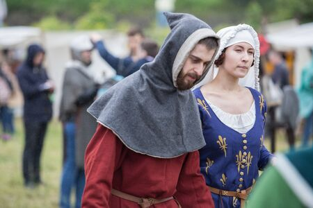 participants: VYBORG, RUSSIA - JUNE 18, 2016: Participants of Festival of medieval culture Valour of centuries.