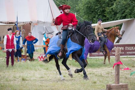 tourney: VYBORG, RUSSIA - JUNE 18, 2016: Participants of Festival of medieval culture Valour of centuries.