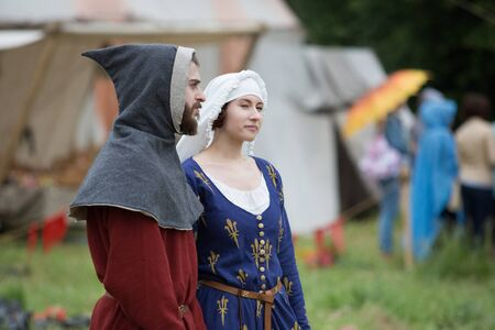 vyborg: VYBORG, RUSSIA - JUNE 18, 2016: Participants of Festival of medieval culture Valour of centuries.