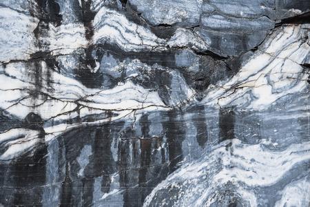 karelia: Natural Karelian marble as background. Ruskeala career in Karelia, Russia. Stock Photo