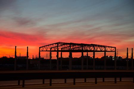 paesaggio industriale: Panorama industriale al tramonto Archivio Fotografico