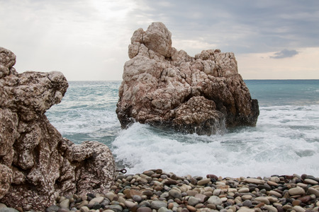 Petra tou Romiou - birthplace of the goddess Aphrodite in Cyprus Stock Photo