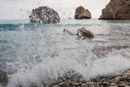 Petra tou Romiou - birthplace of the goddess Aphrodite in Cyprus Stock Photo