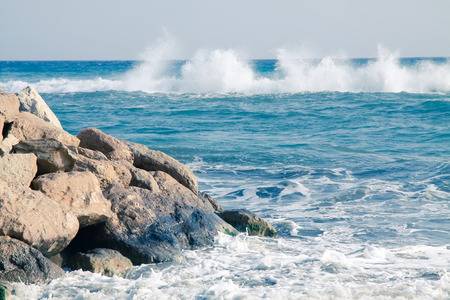 Sea waves on the beach at Limassol, Cyprus Stock Photo