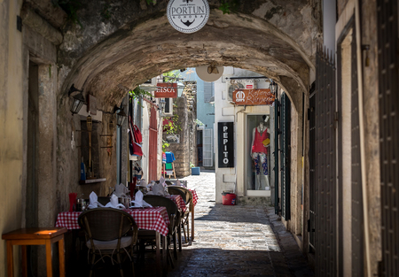 BUDVA, MONTENEGRO - JULY 30, 2017: Streets of the old town
