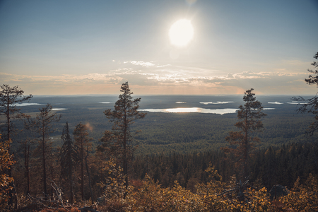 Sunset on Vottovaara mount. Republic of Karelia, Russia.