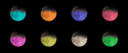 moons: Collection of colored moons Stock Photo