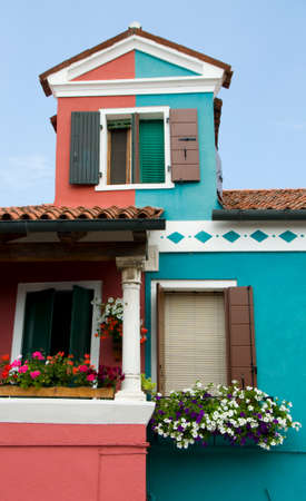 The colors of the walls of Burano island, Venice, Italy