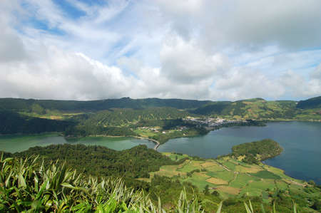 water s edge: view on the lake of thirst citades in the Azores Islands