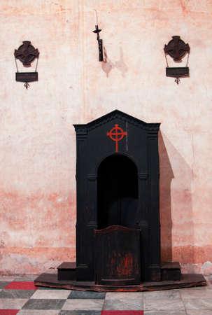 god box: Confessional in the church of Santa Cristina in monselice Stock Photo