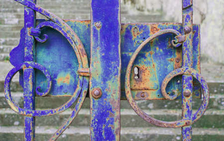 Blue iron gate closed photo