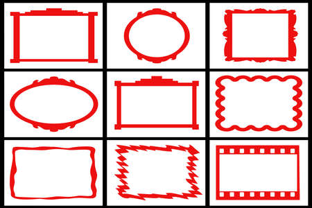 Collection Of Red Frames On White Backgrounds Stock Photo, Picture ...