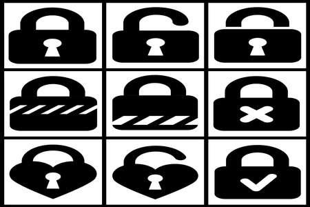 padlocks: Collection of black padlocks on white background Stock Photo