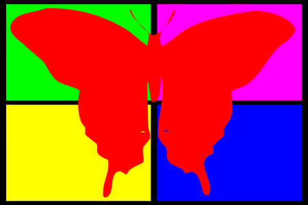 red butterfly: red butterfly on multicolored background Stock Photo