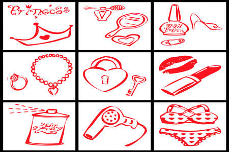 collection of red objects for a woman princess on white background photo