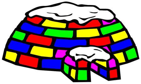 blizzards: multicolored igloo on white background Stock Photo