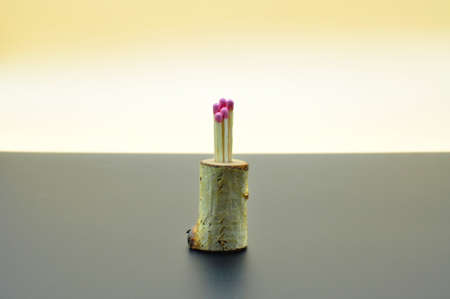 Close-up of a matches isolated on bicolor backfround