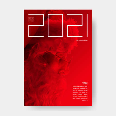 2021 Santa modern grunge poster. Red and black poster. Trend 2020 magazine cover