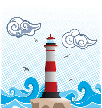 Vector of a lighthouse building, standing in the big waves seashore, great for travelling, illustration or else