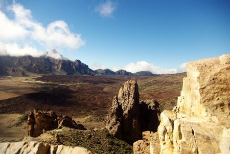 View of the hot Canarian volcanic desert, just a few kilometers away from El Teide Mount.  Stock Photo - 11210520
