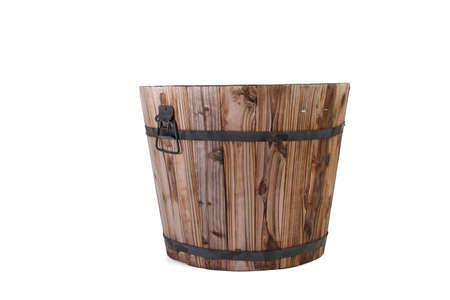 wooden bucket on white