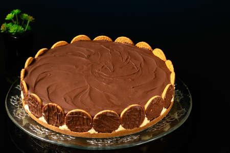 dutch pie on dark glass table dark glass table