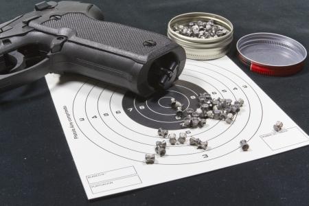 pellet gun: With pellet gun targets