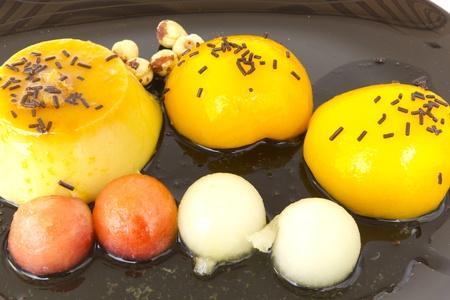 liquidate: Egg custard with peaches and chocolate shavings