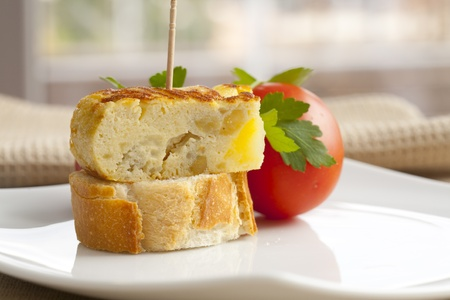 Delicious omelette skewer with onions and bread Stock Photo