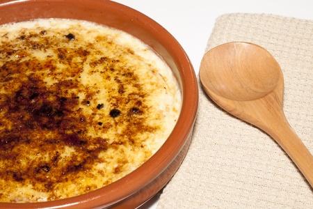 Catalan cream delicious dessert with sugar toast, typical in Catalonia photo
