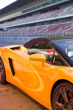 lamborghini: View of part of a luxury car Lamborghini and high-speed