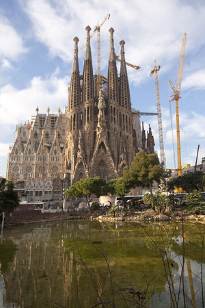 Temple of the Sagrada Familia in Barcelona, Spain situated photo