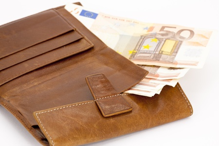 Brown base with euro banknotes photo