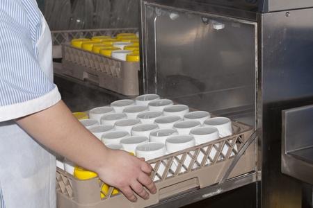 lavavajillas: Chica de lavado de platos y vasos en un lavavajillas industrial