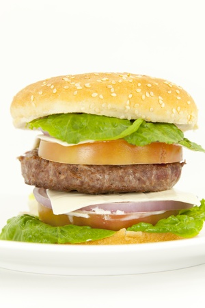 Beef burger with lettuce tomato onion and cheese Stock Photo - 13395361