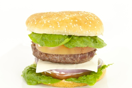 Beef burger with lettuce tomato onion and cheese Stock Photo - 13395358