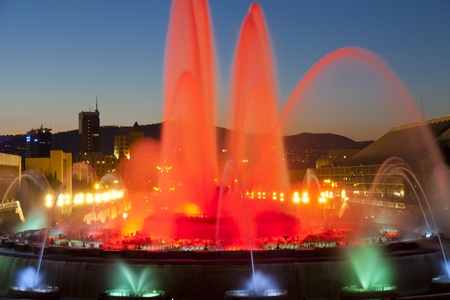 BARCELONA - JUNE  16; Barcelona Magic Source  Magic fountain located in Montjuic and illuminated with colored lights  Event June 16, 2012 in Barcelona, Spain, Catalonia