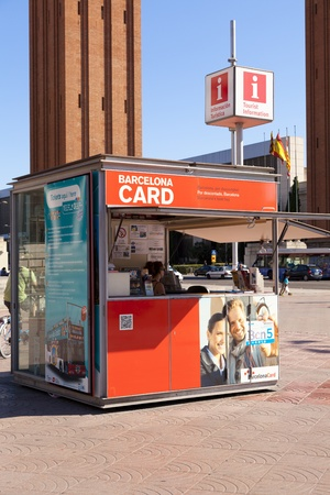 BARCELONA - JUNE  16; Point of information  Point of information located on the square of Barcelona Spain for tourists  Event June 16, 2012 in Barcelona, Spain, Catalonia