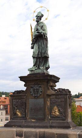 Saint John of Nepomuks statue, Charles bridge in Prague,Czech Republic