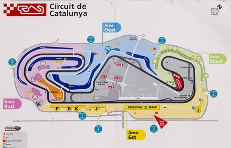 moto2: BARCELONA - JUNE 24: Poster with circuit map of Catalonia Moto2 race at 2012 Speed Championship in Spain at Montmelo circuit on June 24, 2012 in Barcelona, Spain.