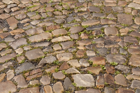 Ancient cobblestone medieval times even used on the streets of Prague photo