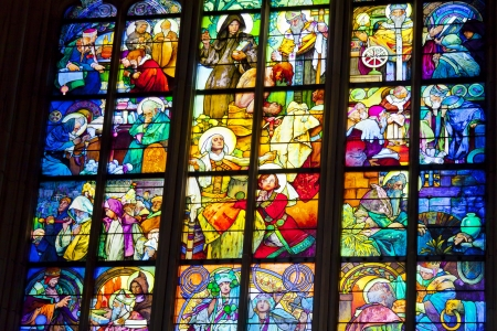 Stained glass windows of St  Vitus in Prague, Czech Republic  Stock Photo - 14542646