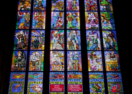 Stained glass windows of St  Vitus in Prague, Czech Republic
