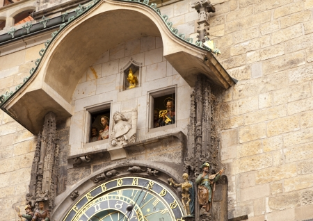 Old astronomical clock in the center square of Prague, Czech Republic photo